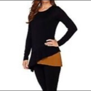 LOGO Lori Goldstein Asymmetrical Long Sleeve Top